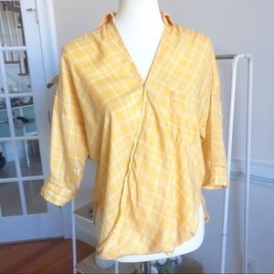 Anthropologie Holding Horses Plaid wrap top